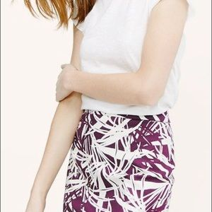 LOFT burgundy frond NWT pencil skirt.